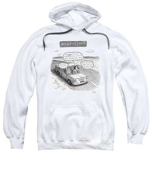 A Woman Driving Down The Road Acting Sweatshirt
