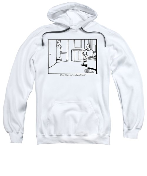 A Woman In A Doorway Addresses A Man At His Desk Sweatshirt