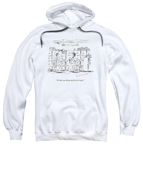 A Woman In A Room Full Of File Cabinets Speaks Sweatshirt