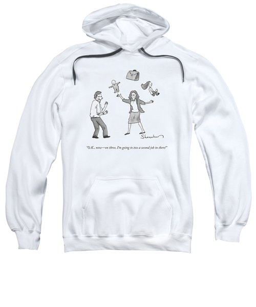 A Woman Juggles Two Children And A Briefcase Sweatshirt