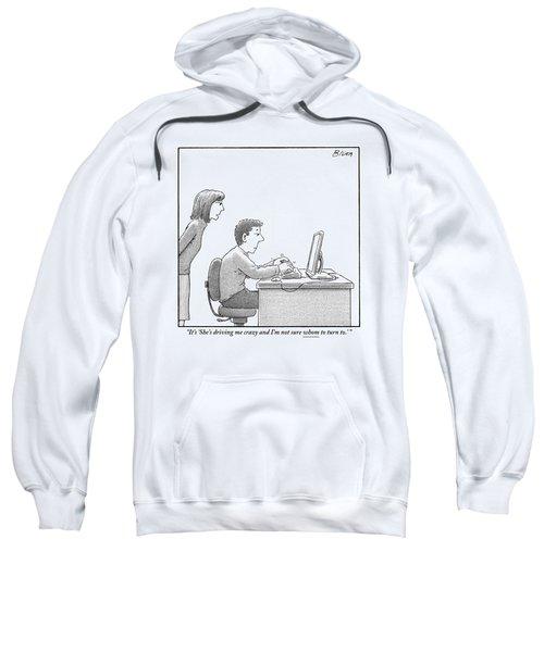 A Woman Looks Over Her Husband's Shoulder Sweatshirt