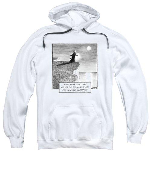 A Woman Runs In The Dark Toward A Cliff Sweatshirt