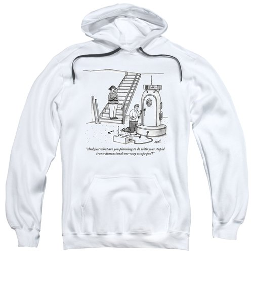 A Woman Stands At The Foot Of A Stair Case Sweatshirt