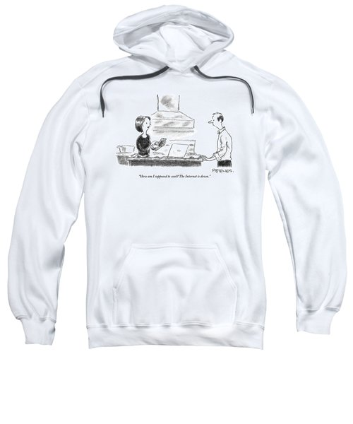 A Woman Stands In The Kitchen Helplessly Sweatshirt