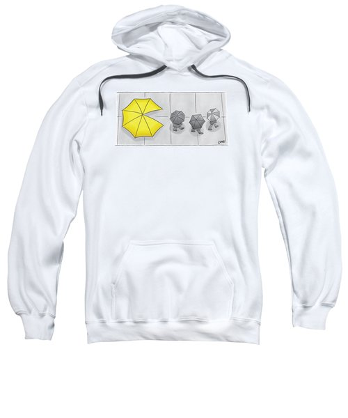 A Yellow Umbrella With A Pacman Mouth Sweatshirt