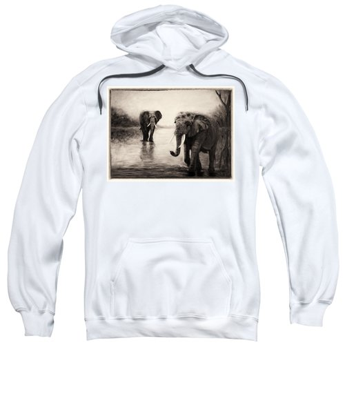 African Elephants At Sunset Sweatshirt