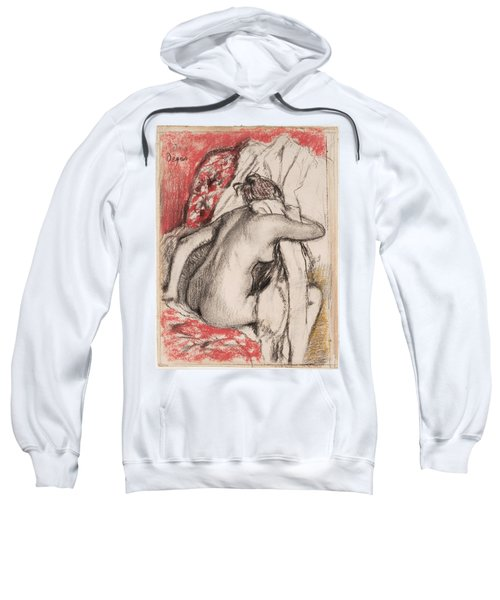 After The Bath.seated Woman Drying Herself Sweatshirt