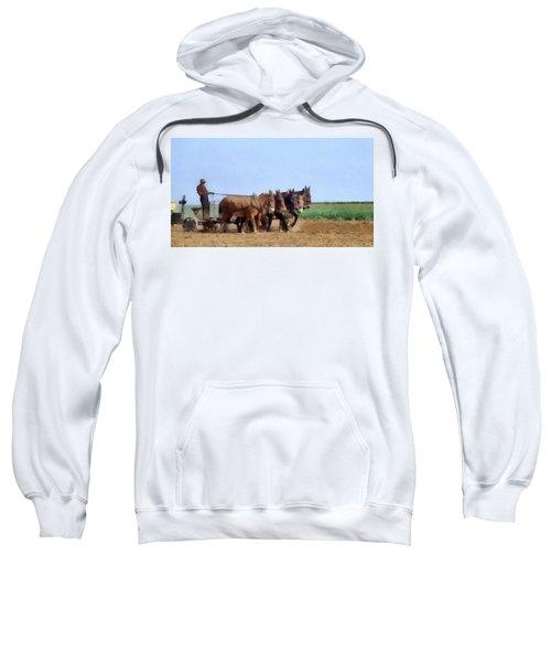 Amish Man Plowing The Fields Sweatshirt