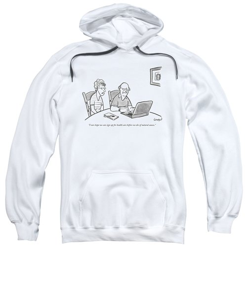 An Old Man And Old Woman Sit At A Laptop Sweatshirt