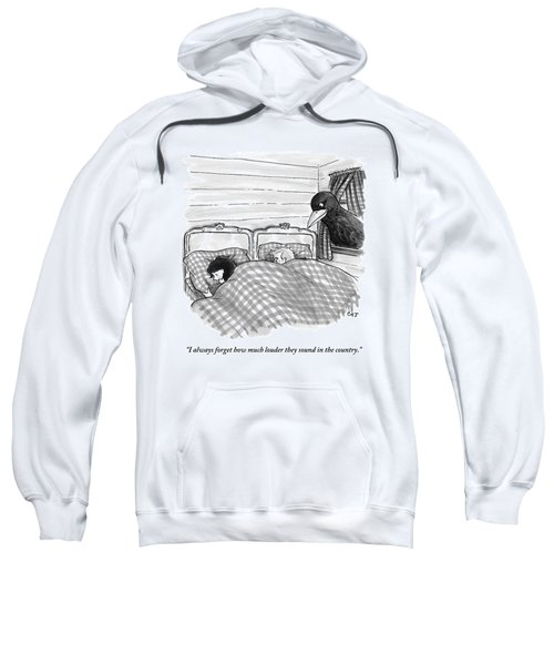 An Overly Large Bird Peers Into The Bedroom Sweatshirt