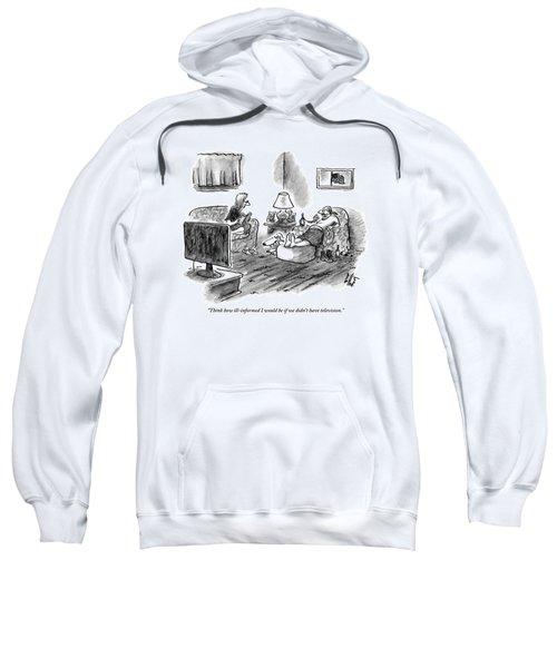 An Overweight Man Lazily Reclines On His Sofa Sweatshirt