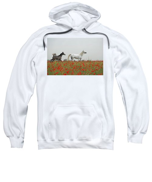 Sweatshirt featuring the photograph At The Poppies' Field... 2 by Dubi Roman