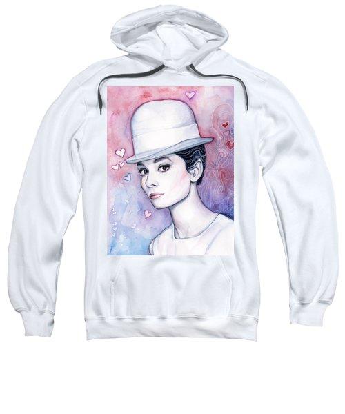 Audrey Hepburn Fashion Watercolor Sweatshirt by Olga Shvartsur