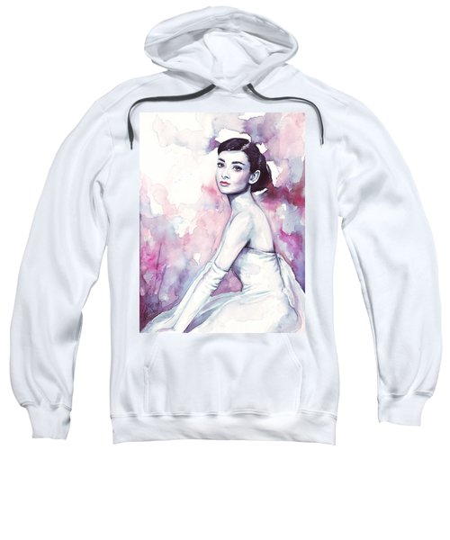 Audrey Hepburn Purple Watercolor Portrait Sweatshirt by Olga Shvartsur