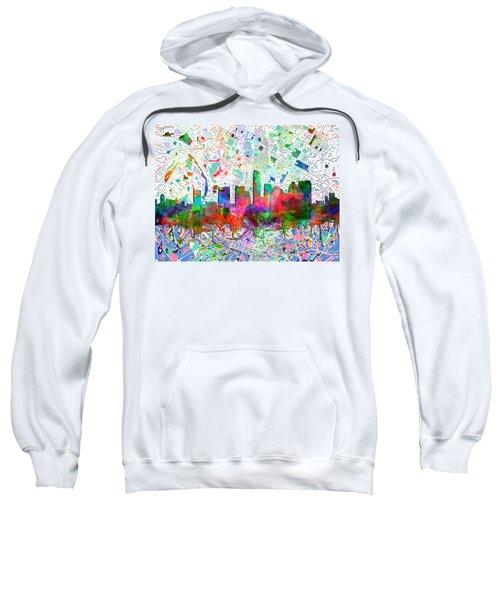 Austin Texas Abstract Panorama 7 Sweatshirt by Bekim Art