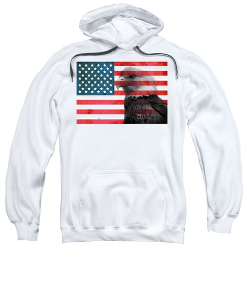 Sweatshirt featuring the mixed media Bald Eagle American Flag by Dan Sproul