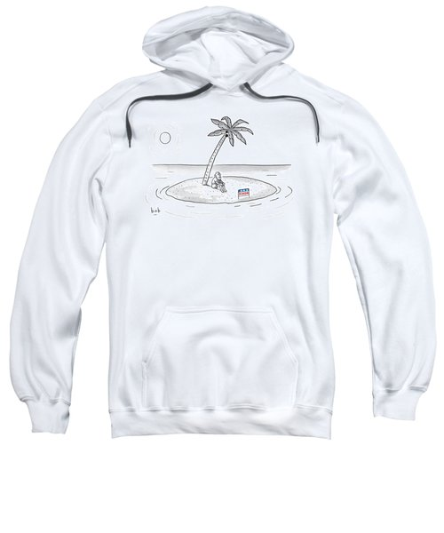 Bearded Man Sits On A Deserted Island. A Campaign Sweatshirt