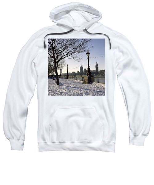 Big Ben Westminster Abbey And Houses Of Parliament In The Snow Sweatshirt