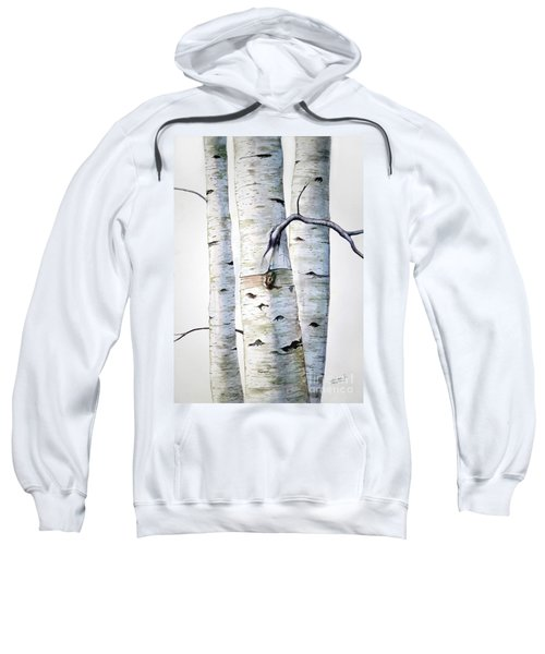 Birch Trees In Watercolor Sweatshirt