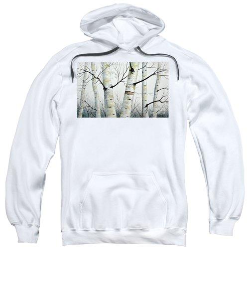 Birch Trees In The Forest In Watercolor Sweatshirt