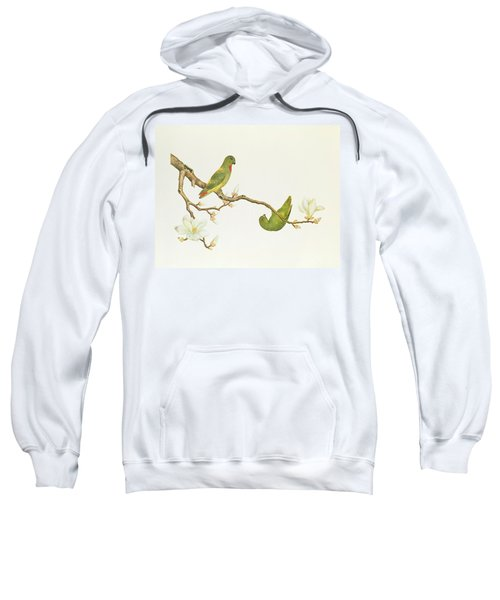 Blue Crowned Parakeet Hannging On A Magnolia Branch Sweatshirt by Chinese School