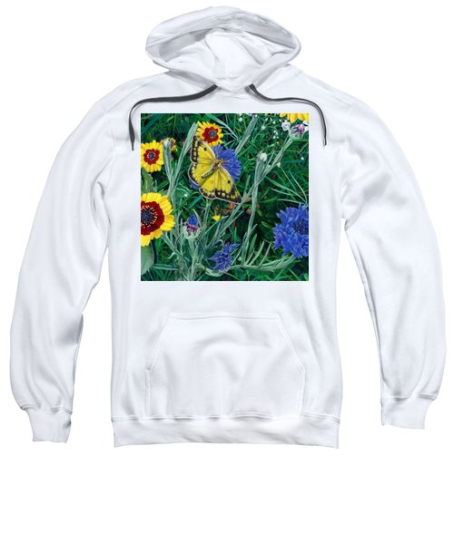 Butterfly And Wildflowers Spring Floral Garden Floral In Green And Yellow - Square Format Image Sweatshirt