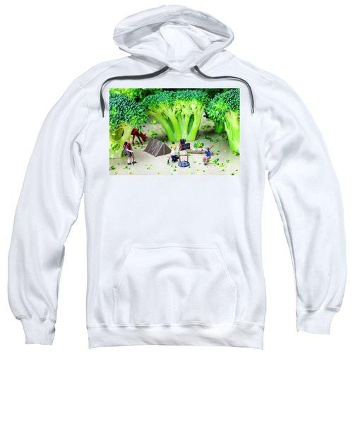 Camping Among Broccoli Jungles Miniature Art Sweatshirt by Paul Ge