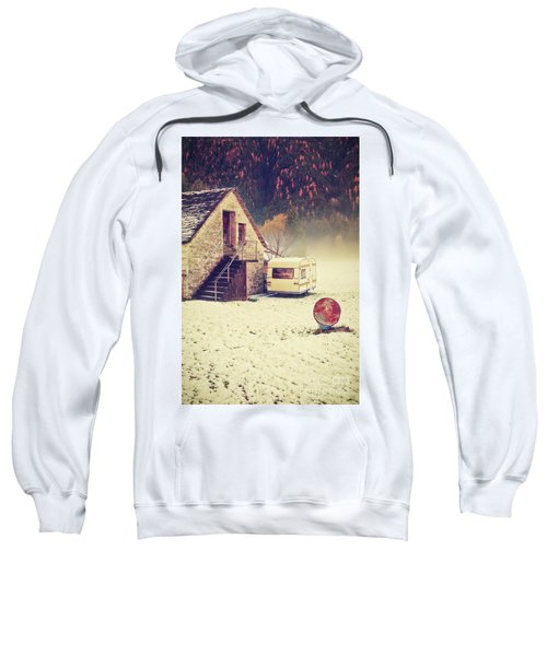 Caravan In The Snow With House And Wood Sweatshirt