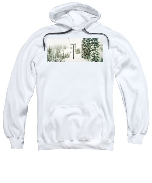 Chair Lift And Snowy Evergreen Trees Sweatshirt