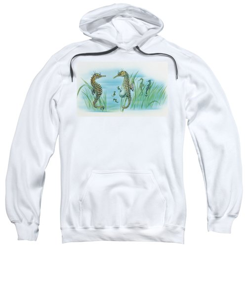 Close-up Of A Male Sea Horse Expelling Young Sea Horses Sweatshirt