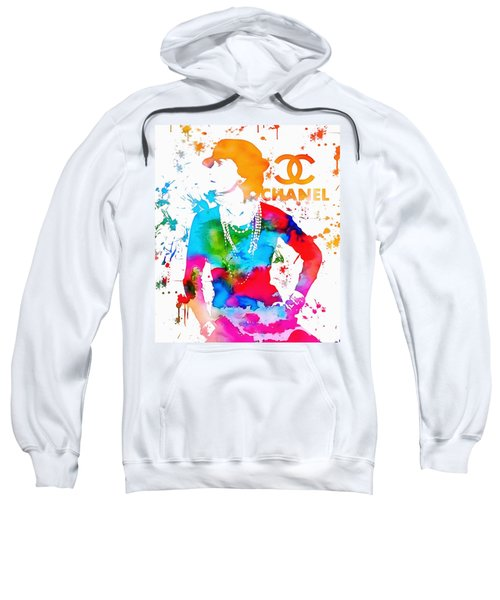 Sweatshirt featuring the painting Coco Chanel Paint Splatter by Dan Sproul