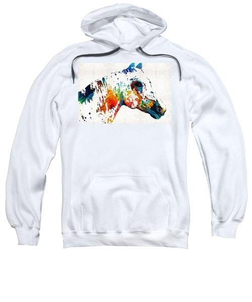 Colorful Horse Art - Wild Paint - By Sharon Cummings Sweatshirt
