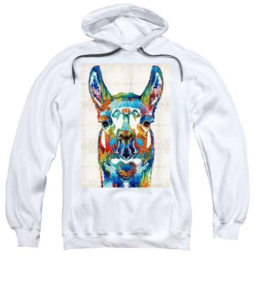 Colorful Llama Art - The Prince - By Sharon Cummings Sweatshirt by Sharon Cummings