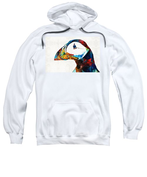 Colorful Puffin Art By Sharon Cummings Sweatshirt by Sharon Cummings