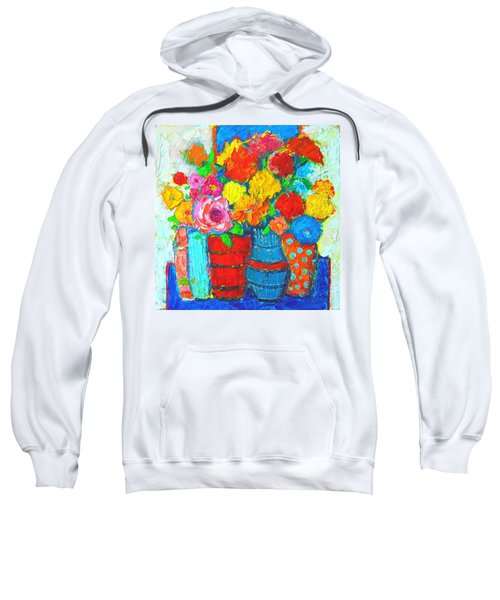 Colorful Vases And Flowers - Abstract Expressionist Painting Sweatshirt