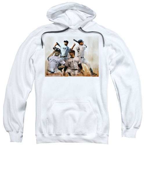 Core  Derek Jeter Mariano Rivera  Andy Pettitte Jorge Posada Sweatshirt by Iconic Images Art Gallery David Pucciarelli