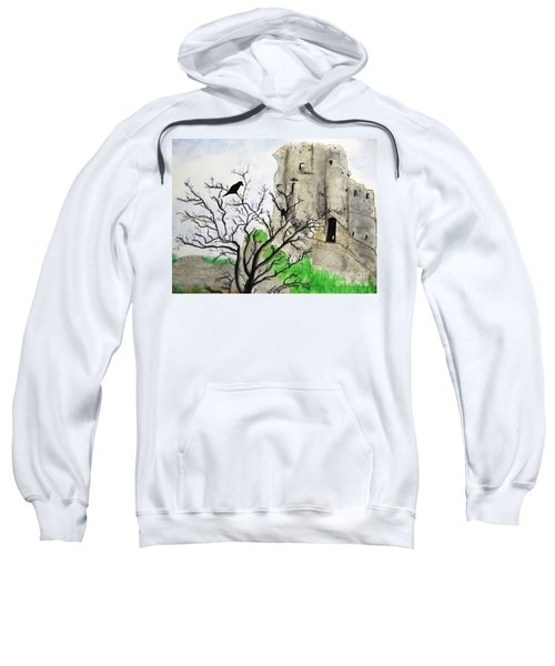 Sweatshirt featuring the painting Corfe Castle And Crow by Denise Railey