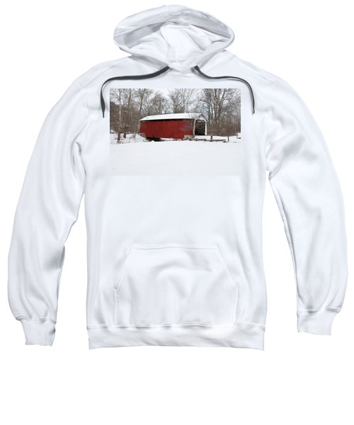 Covered Bridge In Snow Covered Forest Sweatshirt