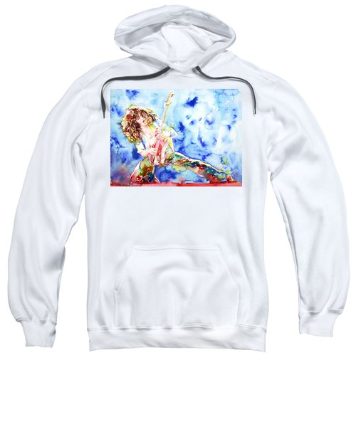 Eddie Van Halen Playing The Guitar.1 Watercolor Portrait Sweatshirt by Fabrizio Cassetta