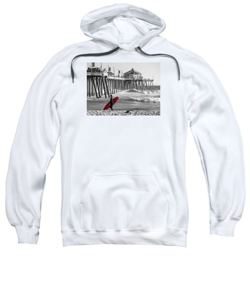 Existential Surfing At Huntington Beach Selective Color Sweatshirt