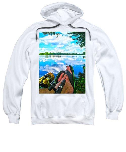 Feet Up Fishing Crab Orchard Lake Sweatshirt