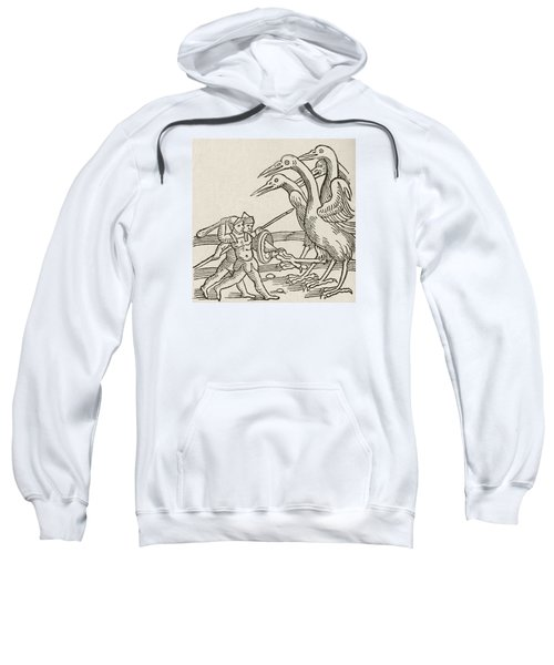 Fight Between Pygmies And Cranes. A Story From Greek Mythology Sweatshirt