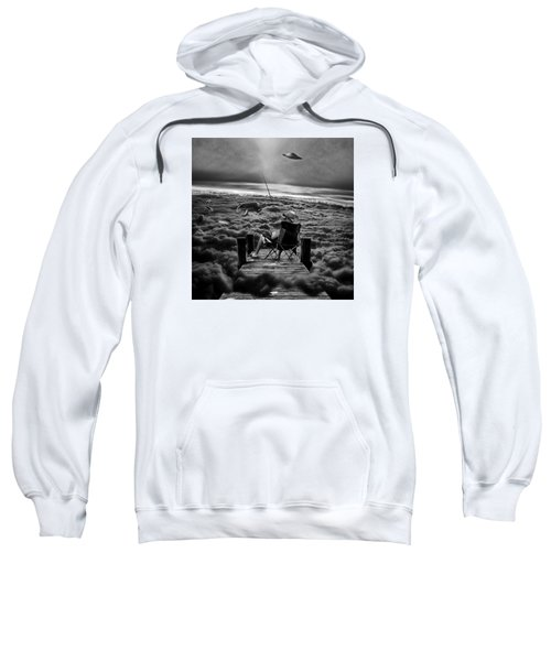 Fishing Above The Clouds Grayscale Sweatshirt