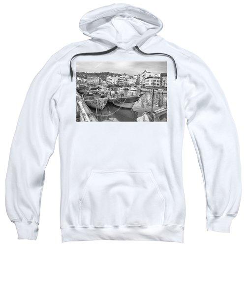 Fishing Boats B W Sweatshirt