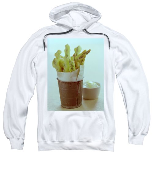 Fried Asparagus Sweatshirt by Romulo Yanes