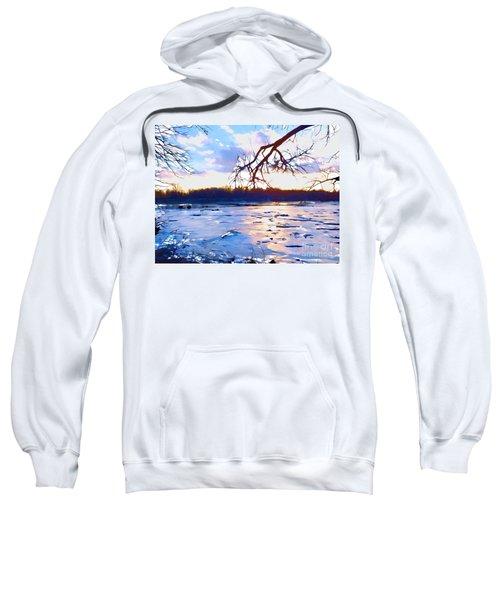 Frozen Delaware River Sunset Sweatshirt
