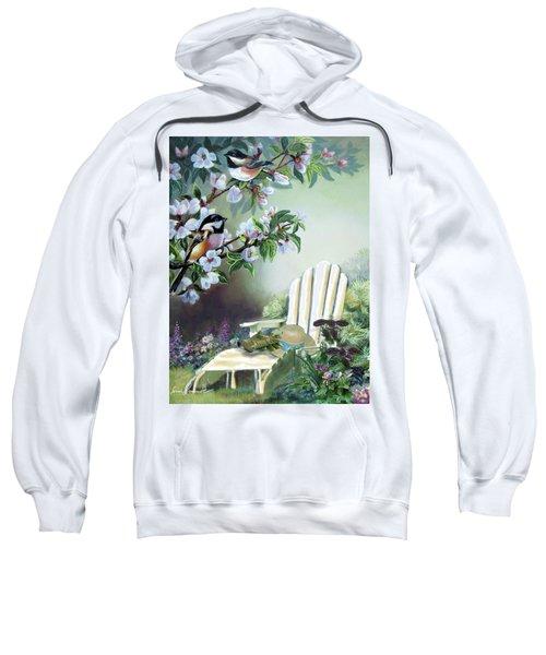 Chickadees In Blossom Tree Sweatshirt by Regina Femrite
