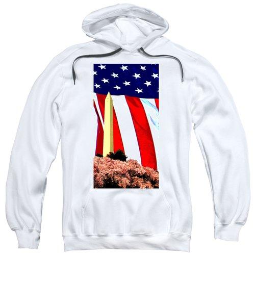 George Washington Monument And Heavenly American  Flag Sweatshirt