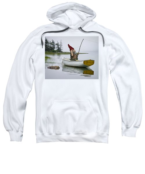 Gnome Fisherman In A White Maine Boat On A Foggy Morning Sweatshirt