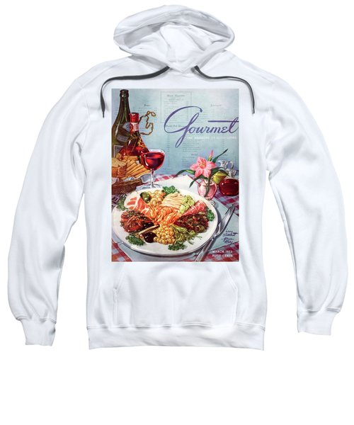Gourmet Cover Illustration Of A Plate Of Antipasto Sweatshirt